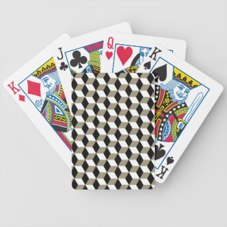 Khaki Black & White 3D Cubes Pattern Bicycle Playing Cards