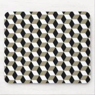 Khaki Black &amp; White 3D Cubes Pattern Mouse Pad (<em>$14.90</em>)