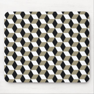 Khaki Black & White 3D Cubes Pattern Mouse Pad