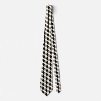 Khaki Black & White 3D Cubes Pattern Tie