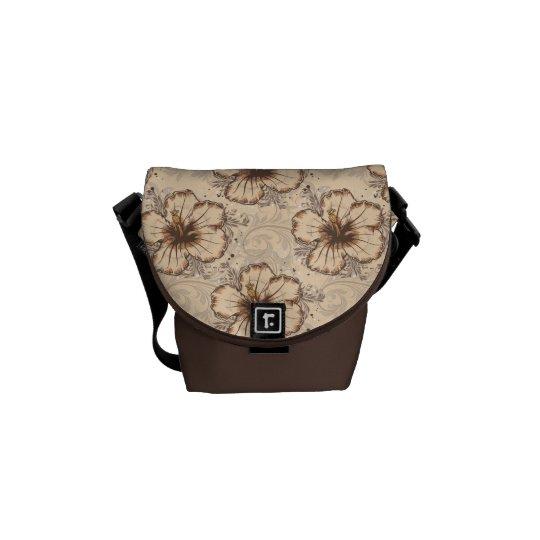 Khaki/Brown Hibiscus Flower Messenger Bag