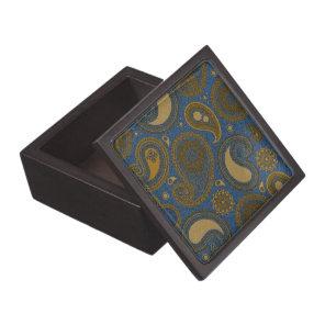 Khaki brown Paisley on Blue Jean motif Gift Box