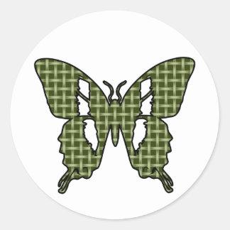 Khaki Butterfly Classic Round Sticker