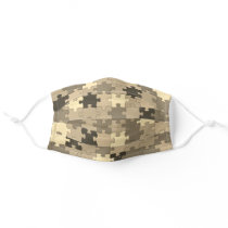 Khaki Camouflage Puzzle Pieces Pattern Funny Cloth Face Mask