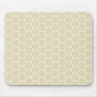 Khaki Cream Colored Hexagon Honeycomb Pattern Mouse Pad