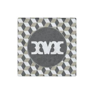 Khaki-Cubes, Black & White 3D Cubes Pattern Stone Magnet