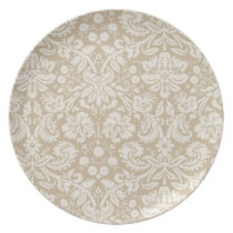 Khaki Damask Melamine Plate