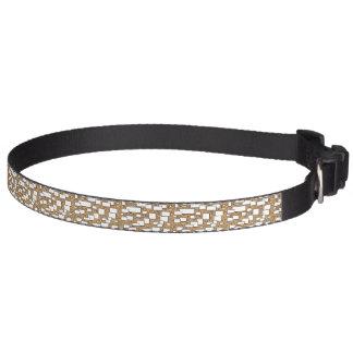 Khaki geometric white line art pattern pet collar