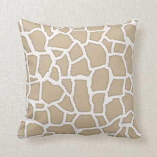 Khaki Giraffe Animal Print Throw Pillow