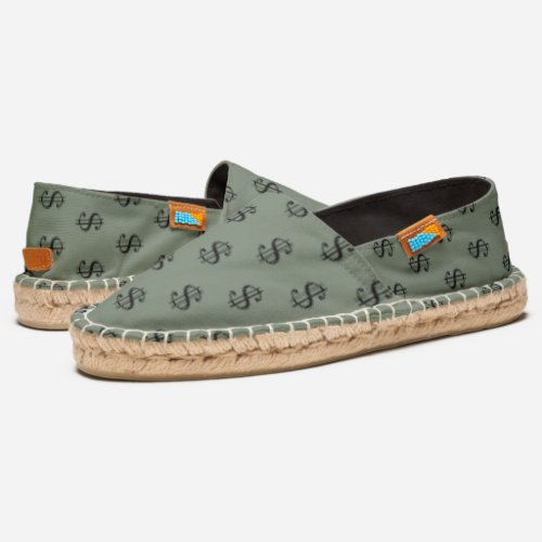 Khaki Green  and Black Dollar Sign Pattern Espadrilles