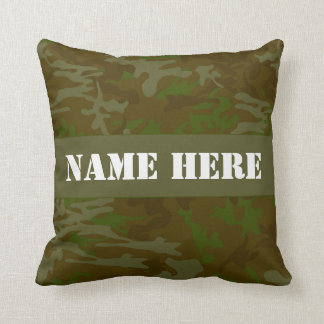 Khaki Green Camo Custom Name Throw Pillow