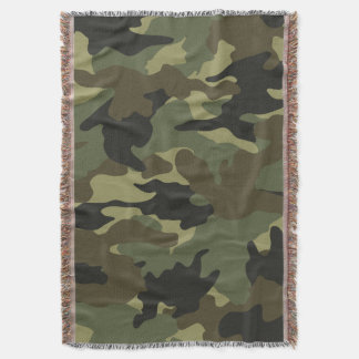Khaki Green Camo Military Woven Throw Blankets