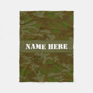Khaki Green Custom Camo Throw Blanket