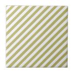 Khaki Green Solid Color & White Stripes Ceramic Tile