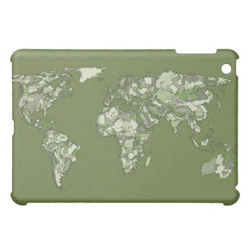 Khaki green world map iPad mini cover