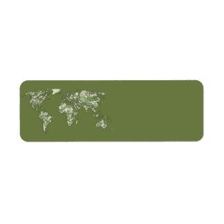 Khaki green world map label
