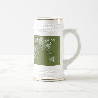 Khaki green world map mug