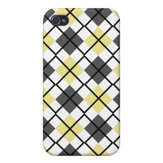 Khaki, Grey, White and Black Argyle iPhone 4 Case