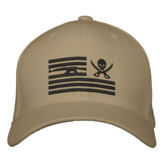 Khaki Liberty Pirate Operator Cap Embroidered Hat