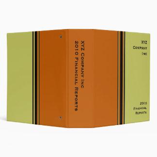 khaki orange business 3 ring binder
