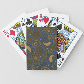 Khaki Paisley on Blue Jean motif Bicycle Playing Cards