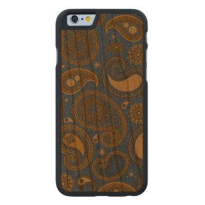 Khaki Paisley on Blue Jean motif Carved Cherry iPhone 6 Slim Case