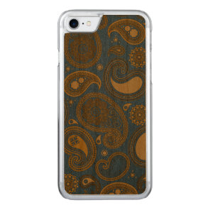 Khaki Paisley on Blue Jean motif Carved iPhone 7 Case