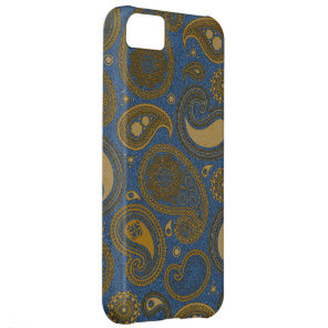 Khaki Paisley on Blue Jean motif Case For iPhone 5C