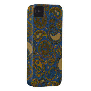 Khaki Paisley on Blue Jean motif Case-Mate iPhone 4 Case