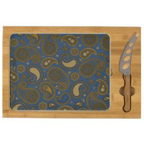 Khaki Paisley on Blue Jean motif Cheese Board