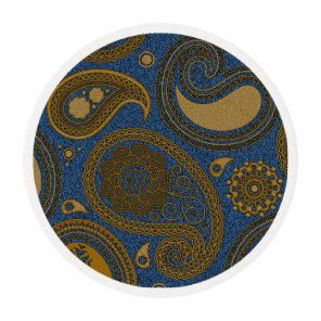 Khaki Paisley on Blue Jean motif Edible Frosting Rounds