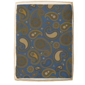 Khaki Paisley on Blue Jean motif Jumbo Shortbread Cookie