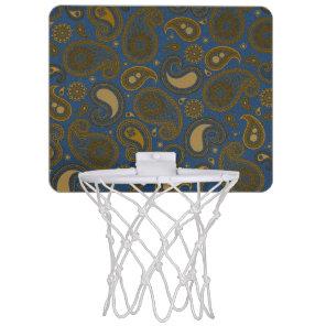 Khaki Paisley on Blue Jean motif Mini Basketball Hoop