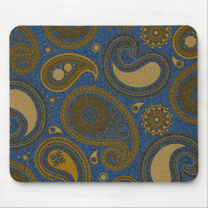 Khaki Paisley on Blue Jean motif Mouse Pad
