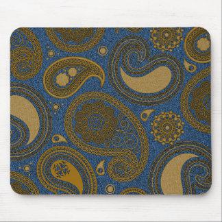 Khaki Paisley on Blue Jean motif Mouse Pad