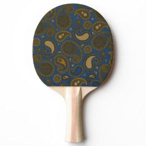 Khaki Paisley on Blue Jean motif Ping-Pong Paddle