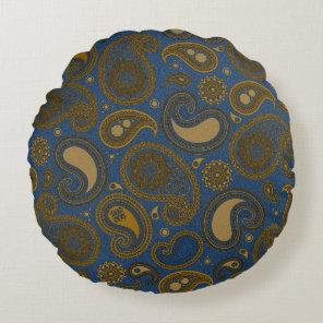 Khaki Paisley on Blue Jean motif Round Pillow