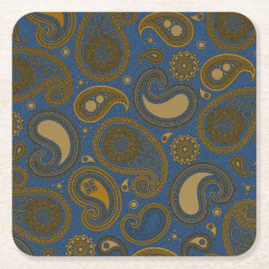 Khaki Paisley on Blue Jean motif Square Paper Coaster