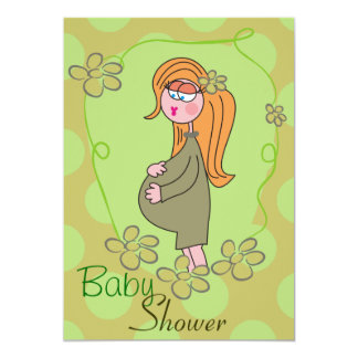 Khaki Polka Dots Pregnant Mom Baby Shower Invite