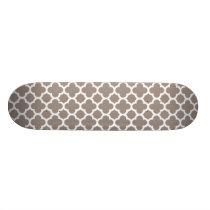 Khaki Quatrefoil Trellis Pattern Skateboard