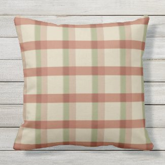 Khaki Rose Sage Check Outdoor Pillow 20x20