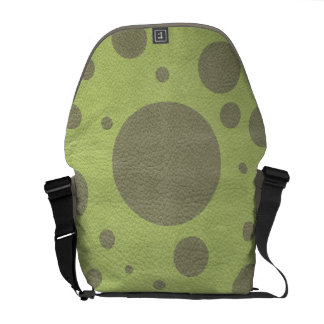 Khaki Scattered Spots on Lime Leather Texture Courier Bag