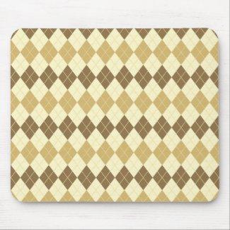 Khaki Scottish Tartan-Pattern Mouse Pad