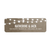 Khaki String Lights Wedding Address Labels