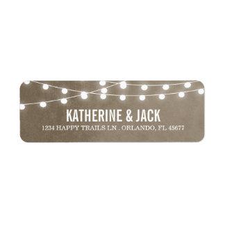 Khaki String Lights Wedding Address Labels
