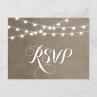 Khaki String Lights Wedding RSVP Postcard