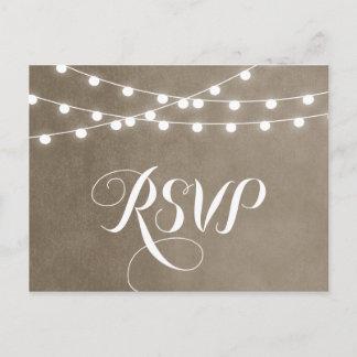 Khaki String Lights Wedding RSVP Postcard