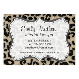 Khaki, Tan, Leopard Animal Print Large Business Cards (Pack Of 100)