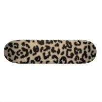 Khaki, Tan, Leopard Animal Print Skateboard