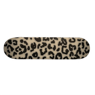 Khaki, Tan, Leopard Animal Print Skateboard